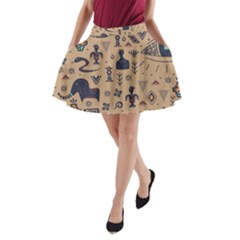 Vintage Tribal Seamless Pattern With Ethnic Motifs A-Line Pocket Skirt