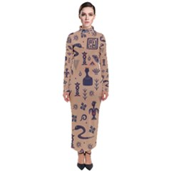 Vintage Tribal Seamless Pattern With Ethnic Motifs Turtleneck Maxi Dress