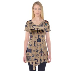 Vintage Tribal Seamless Pattern With Ethnic Motifs Short Sleeve Tunic