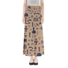 Vintage Tribal Seamless Pattern With Ethnic Motifs Full Length Maxi Skirt