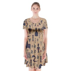 Vintage Tribal Seamless Pattern With Ethnic Motifs Short Sleeve V-neck Flare Dress