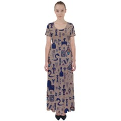 Vintage Tribal Seamless Pattern With Ethnic Motifs High Waist Short Sleeve Maxi Dress