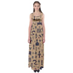 Vintage Tribal Seamless Pattern With Ethnic Motifs Empire Waist Maxi Dress