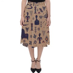 Vintage Tribal Seamless Pattern With Ethnic Motifs Classic Midi Skirt