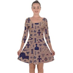Vintage Tribal Seamless Pattern With Ethnic Motifs Quarter Sleeve Skater Dress