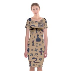 Vintage Tribal Seamless Pattern With Ethnic Motifs Classic Short Sleeve Midi Dress