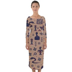 Vintage Tribal Seamless Pattern With Ethnic Motifs Quarter Sleeve Midi Bodycon Dress