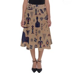 Vintage Tribal Seamless Pattern With Ethnic Motifs Perfect Length Midi Skirt