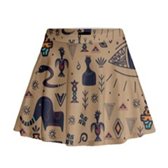 Vintage Tribal Seamless Pattern With Ethnic Motifs Mini Flare Skirt