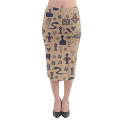 Vintage Tribal Seamless Pattern With Ethnic Motifs Midi Pencil Skirt
