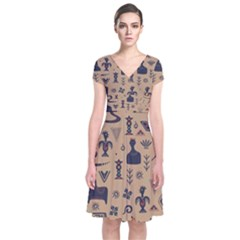 Vintage Tribal Seamless Pattern With Ethnic Motifs Short Sleeve Front Wrap Dress