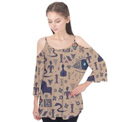 Vintage Tribal Seamless Pattern With Ethnic Motifs Flutter Tees