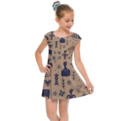 Vintage Tribal Seamless Pattern With Ethnic Motifs Kids  Cap Sleeve Dress