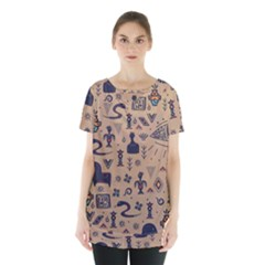 Vintage Tribal Seamless Pattern With Ethnic Motifs Skirt Hem Sports Top