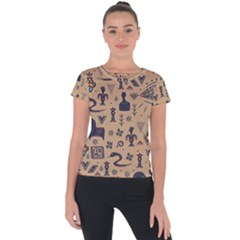 Vintage Tribal Seamless Pattern With Ethnic Motifs Short Sleeve Sports Top