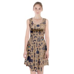 Vintage Tribal Seamless Pattern With Ethnic Motifs Racerback Midi Dress