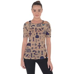 Vintage Tribal Seamless Pattern With Ethnic Motifs Shoulder Cut Out Short Sleeve Top