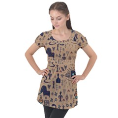 Vintage Tribal Seamless Pattern With Ethnic Motifs Puff Sleeve Tunic Top
