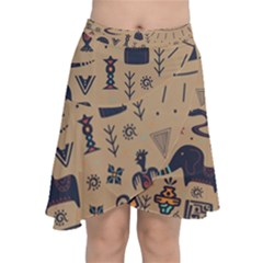 Vintage Tribal Seamless Pattern With Ethnic Motifs Chiffon Wrap Front Skirt