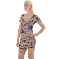 Vintage Tribal Seamless Pattern With Ethnic Motifs Short Sleeve Asymmetric Mini Dress