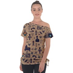 Vintage Tribal Seamless Pattern With Ethnic Motifs Tie-Up Tee