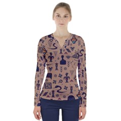 Vintage Tribal Seamless Pattern With Ethnic Motifs V-Neck Long Sleeve Top