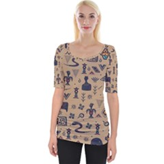 Vintage Tribal Seamless Pattern With Ethnic Motifs Wide Neckline Tee