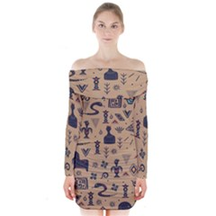 Vintage Tribal Seamless Pattern With Ethnic Motifs Long Sleeve Off Shoulder Dress