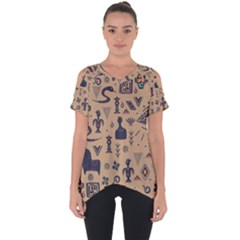 Vintage Tribal Seamless Pattern With Ethnic Motifs Cut Out Side Drop Tee