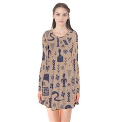Vintage Tribal Seamless Pattern With Ethnic Motifs Long Sleeve V-neck Flare Dress