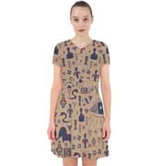 Vintage Tribal Seamless Pattern With Ethnic Motifs Adorable in Chiffon Dress