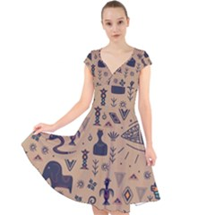 Vintage Tribal Seamless Pattern With Ethnic Motifs Cap Sleeve Front Wrap Midi Dress