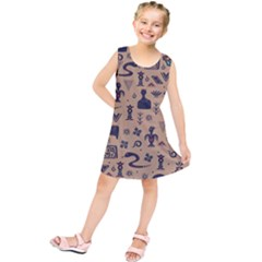 Vintage Tribal Seamless Pattern With Ethnic Motifs Kids  Tunic Dress