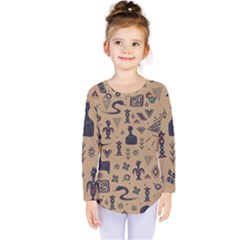 Vintage Tribal Seamless Pattern With Ethnic Motifs Kids  Long Sleeve Tee