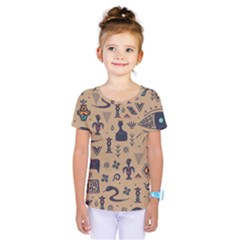 Vintage Tribal Seamless Pattern With Ethnic Motifs Kids  One Piece Tee