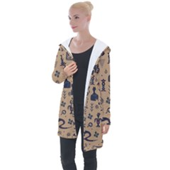 Vintage Tribal Seamless Pattern With Ethnic Motifs Longline Hooded Cardigan