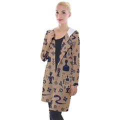 Vintage Tribal Seamless Pattern With Ethnic Motifs Hooded Pocket Cardigan
