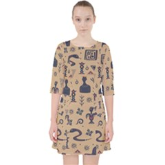 Vintage Tribal Seamless Pattern With Ethnic Motifs Pocket Dress