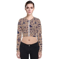 Vintage Tribal Seamless Pattern With Ethnic Motifs Long Sleeve Zip Up Bomber Jacket