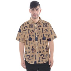 Vintage Tribal Seamless Pattern With Ethnic Motifs Men s Short Sleeve Shirt
