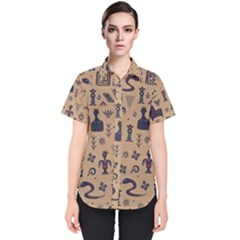Vintage Tribal Seamless Pattern With Ethnic Motifs Women s Short Sleeve Shirt