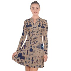 Vintage Tribal Seamless Pattern With Ethnic Motifs Long Sleeve Panel Dress