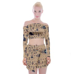 Vintage Tribal Seamless Pattern With Ethnic Motifs Off Shoulder Top with Mini Skirt Set