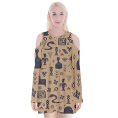 Vintage Tribal Seamless Pattern With Ethnic Motifs Velvet Long Sleeve Shoulder Cutout Dress