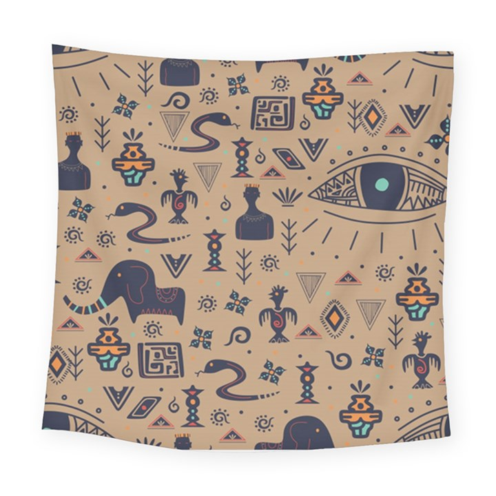 Vintage Tribal Seamless Pattern With Ethnic Motifs Square Tapestry (Large)