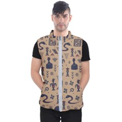 Vintage Tribal Seamless Pattern With Ethnic Motifs Men s Puffer Vest