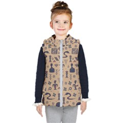 Vintage Tribal Seamless Pattern With Ethnic Motifs Kids  Hooded Puffer Vest