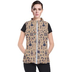 Vintage Tribal Seamless Pattern With Ethnic Motifs Women s Puffer Vest