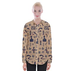 Vintage Tribal Seamless Pattern With Ethnic Motifs Womens Long Sleeve Shirt