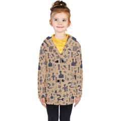 Vintage Tribal Seamless Pattern With Ethnic Motifs Kids  Double Breasted Button Coat
